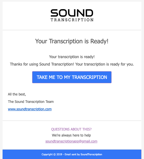 Automatic transcription notification